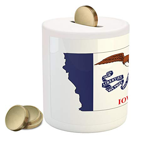 Hawkeyes Piggy Iowa Bank (Lunarable Iowa Piggy Bank, Outline Map and Flag of Hawkeye State Bald Eagle USA, Printed Ceramic Coin Bank Money Box for Cash Saving, Cobalt Blue Vermilion White and Pale Brown)