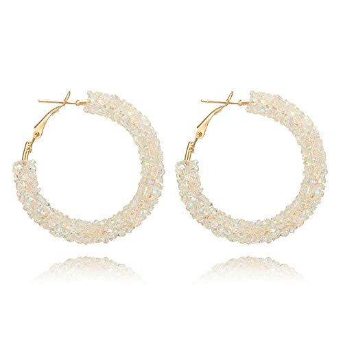 - Fashion Hoop Earrings Beaded Bohemian Hoop Dangle Earrings for Women Girls Gold Plated (White)