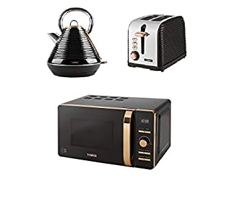 Tower Linear Rose Gold Black Kitchen Electrical Appliance Set T24021 Rose Gold Digital Solo Microwave A 1 8ls S Pyramid Kettle A 2 Slice Toaster
