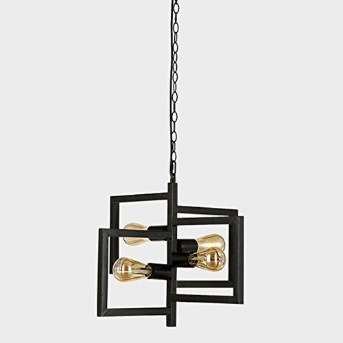 IAWlight Retro Hanging Lamp Black Pendant Lamp E27 Industrial Chandelier Deco Lamp 4 Flammig Lamp Max 40W Adjustable Height for Dining Table Living Room (Bulb not included) - Florentine 10 Light Single