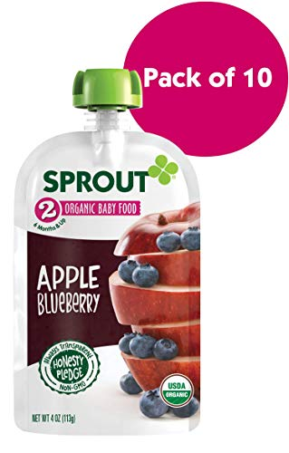 Sprout Organic Stage 2 Baby Food Pouches, Apple Blueberry, 4 Ounce (Pack of 10) (Apple Organic Foods)