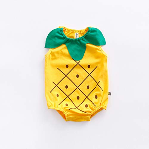 Newborn Boys Girls Jumpsuit, Infant Kids Baby Lovely Bodysuit Fruit Strawberry Pineapp Print Romper (0-6 Months, Yellow) by Hopwin Baby Boys Suits (Image #2)