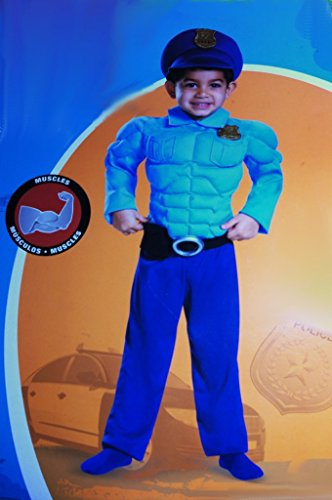 Boys Size 2T Muscle Policeman Costume with badge, Hat with attached badge, (Policeman Boys Costume)