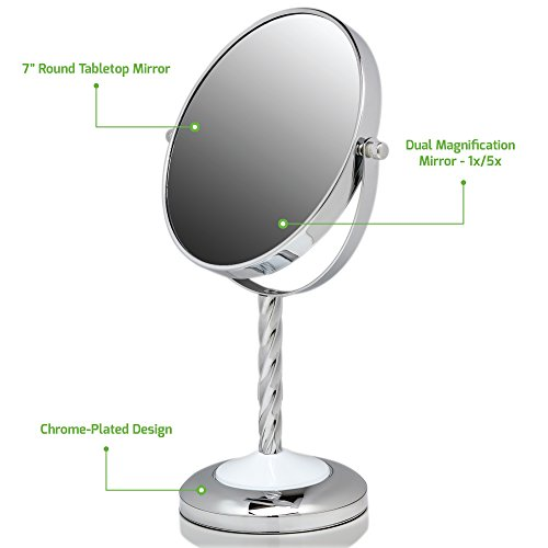 Ovente Round Tabletop Vanity Mirror, 7 Inch, Dual-Sided with 1x/5x magnification, Chrome-Plated Iron, Chrome (MNLBT70CH1X5X) by Ovente (Image #9)
