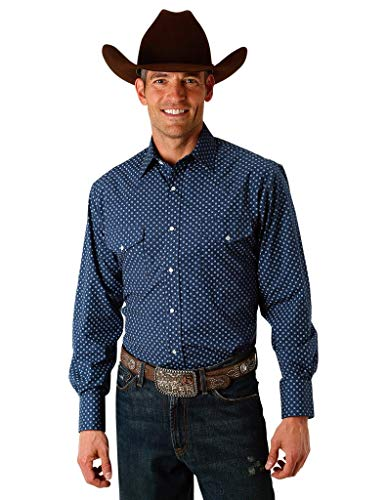 Roper Men's Star Print Long Sleeve Western Snap Shirt Navy X-Large ()