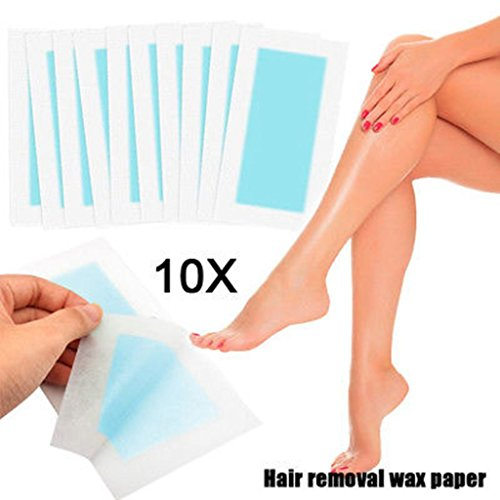 Hair Remover Paper Cold Wax Strips For Legs,Arms, Body- Depilatory Waxing, Removal Hair Wax Strip Paper 10pcs Double-Sided