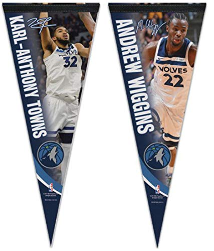 (Bundle 2 Items: NBA Minnesota Timberwolves 2 Premium Pennants 1 Karl-Anthony Towns and 1 Andrew Wiggins)
