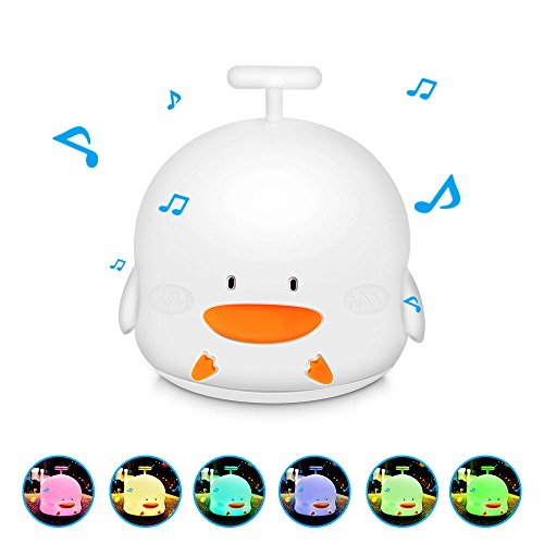 Mystery 3-Modes Portable Silicone LED Duck Night Lamp, USB Rechargeable Children Nursery Night Light with Musical Duckling Sound Mode, Single Color and 7-Color Breathing Modes, Sensitive Tap (Light Up Rubber Ducks)