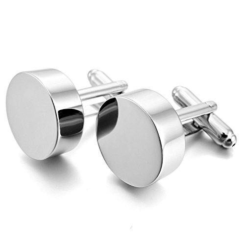 COUYA Silver Blank Round Shiny Stainless Steel Cuff link for Men's Shirt Wedding Business Cufflink