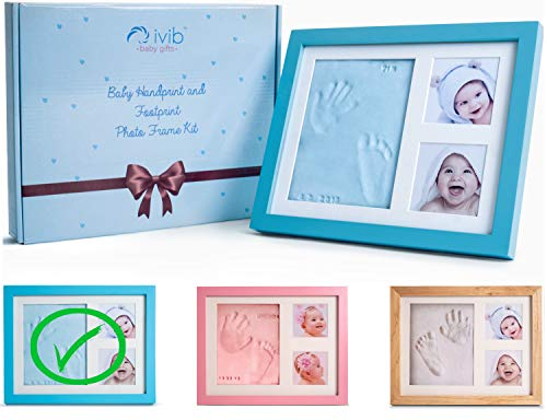 - Baby Handprint & Footprint Photo Frame Kit - Premium Casting No Mold Clay - Box Ready for Boy Girls Baby Shower Gifts - Newborn Keepsake Personalized Picture Frames - Wall/table - Free Stamp Set- Blue