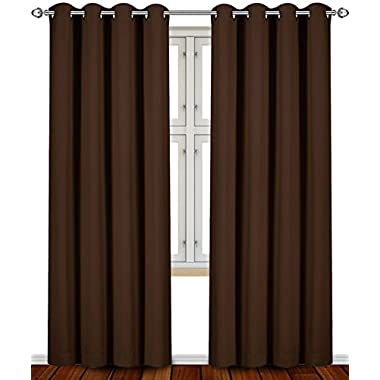 Blackout, Room Darkening Curtains Window Panel Drapes - (Chocolate Color) 2 Panel Set, 52 inch wide by 84 inch long each panel- by Utopia Bedding