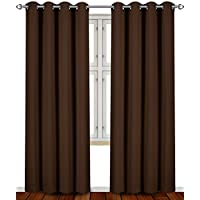 Blackout, Room Darkening Curtains Window Panel Drapes - (Chocolate Color) 2 P...