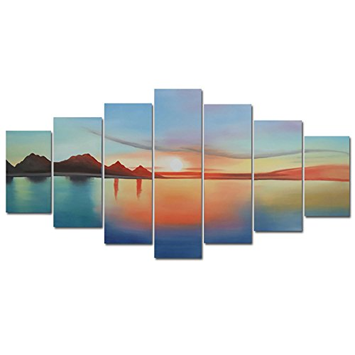 Design Art OL795 7-Panel Landscape Sunset Abstract Oil Pa...