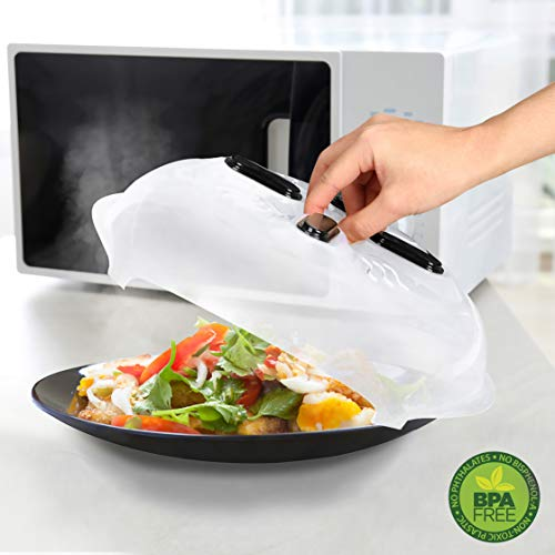 Microwave Plate Cover with Magnetic Hover Function | Microwave Cover for Food | Magnetic Microwave Splatter Guard Lid – 11.5 Inches & BPA-Free
