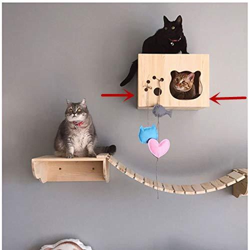 Tardo Cat Wall Shelf Set Cat Hammock Cat Perch Wooden Bed Step Modern Cat Wall Furniture