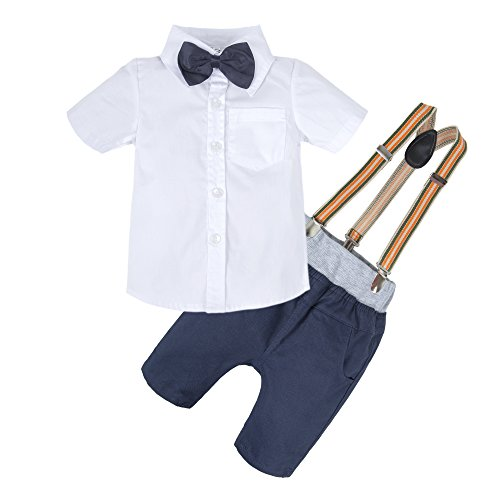 BIG ELEPHANT Baby Boys'2 Pieces Gentle Short Sleeve Shirt Pants Set with Bowtie U06-White-130 4-5 Years