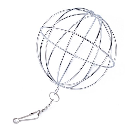 Stainless Steel Sphere Toy Feed Dispenser Manger Food Hanging Ball Toy for Hamster Rat Rabbit Pet