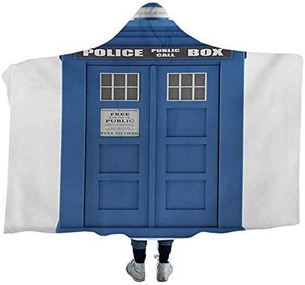dsdsgog Wearable Sleeping Blankets Police,Doctors Blue House British Landmark Phone Box Police Call Image Employment Theme,Blue and White Flannel Blankets Home Cute Soft 60 x 50 Inch