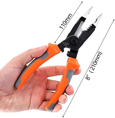 Zimaes Steel 8 Inch 5-In-1 Multifunctional Electrician Needle Nose Pliers Wire Stripper Cutter Crimping Pliers Professional Heavy Duty Plier Set Function