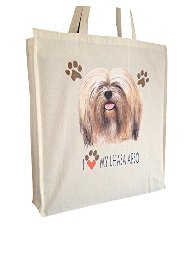 Lhasa Apso Cotton Shopping Bag with Gusset and Long Handles Perfect Gift