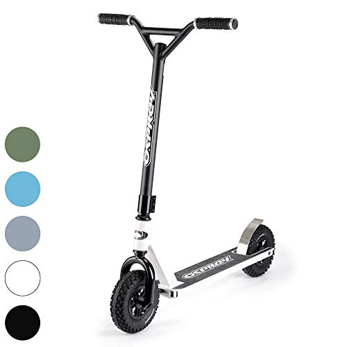 Osprey Dirt Scooter with Off Road All Terrain Pneumatic Trail Tires - White - Offroad Scooter for Adults or Kids (Best Electric Scooter Uk)
