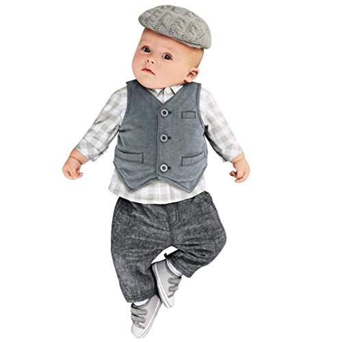 Baby Sets, Oedi Baby Boys Gentry Clothes Set Formal Party Suit 3PCS Lattice Tops+Pants+Vest Set - Warm Tone Skin Cool Or