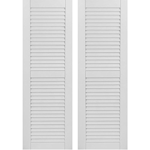 (Ekena Millwork CWL18X064PRC Exterior Composite Wood Louvered Shutters with Installation Brackets (Per Pair), Primed, 18