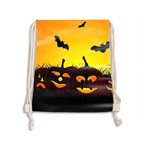 Drawstring Backpack Bags-Cinch Sack Waterproof Kids Sport Storage Polyester Bag for Gym (Halloween Hd Wallpapers)]()