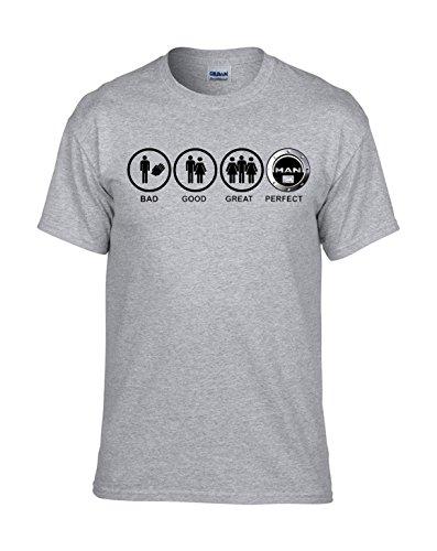 Man LKW BAD-GOOD-GREAT-PERFECT AUTO FUN Grau T-Shirt -170 -Grau
