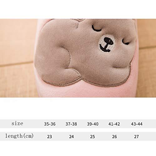 Baumwolle Unterseite Tasche Halbe AMINSHAP Winter Pink größe Dicke Pelzpantoffeln Modelle Mit Indoor Hausschuhe 39 Home Green Rutschfeste 40EU Farbe Weibliche Lovers Nette Fzztwd