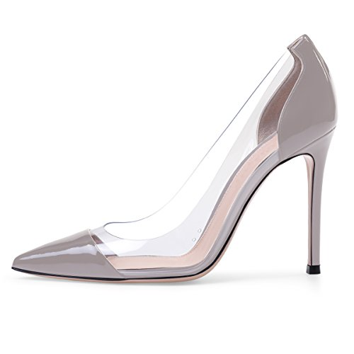 Sammitop Women's Pumps Pointed Toe Gray Patent Shoes 10cm High Heel Transparent Shoes US7.5