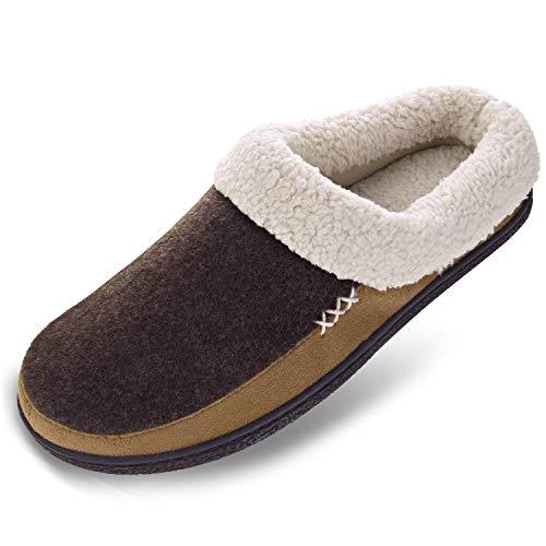 Men's Wool Plush Fleece Memory Foam Slippers Slip On Clog House Shoes Indoor Outdoor, 11-12 Coffee/Light Brown (Best Memory Foam Slippers)