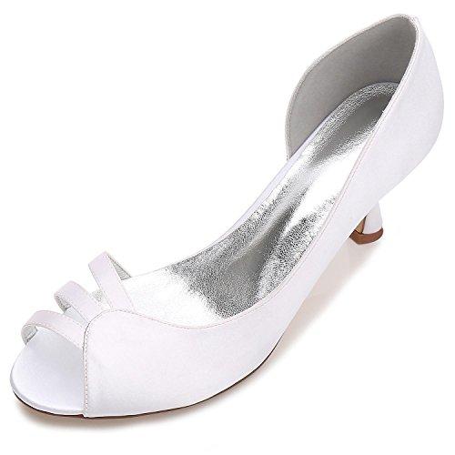 Zapatos de Boda de Las Mujeres E17061-51 Gatitos con Los Mediados de Stretch Satin Novias Zapatos White