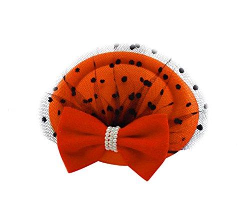 Women's Fascinators Hat Pillbox Hat Cocktail Party Hat with Veil Hair Clip (Orange) - Singer Cap