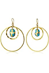 Devon Leigh Double Gold Dipped Circle with Turquoise in 24K Gold Foil Earrings