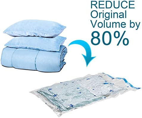 """Premium Reusable Vacuum Storage Bags with Hand Pump, Jumbo 6 pack (40""""X30""""), Durable Compression Bags for Clothes Blankets Comforters Pillows, Double Zip Seal & Leak Valve"""