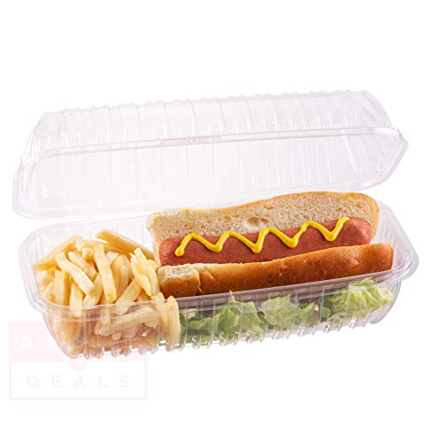 Clamshell Hoagie Clear Hinged [50 Pack] Take-Out Plastic Go Sandwich Containers [Size: 9 7/8