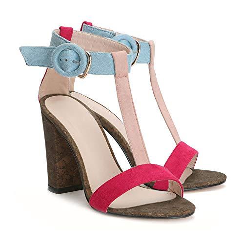 Women's Summer T-Shaped Wood-Tone Buckle Block Suede Open Toe Heel Pump Sandals Pink Sise US 6