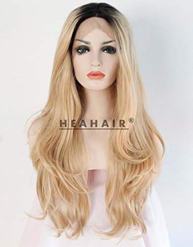 Heahair Dark Root Blonde Ombre Natural Straight Synthetic Lace Front Wig (Good Halloween Ideas For Blondes)