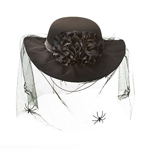 Halloween Hats (Womans Spider Hat Web Black Costume Zombie Halloween Witch)