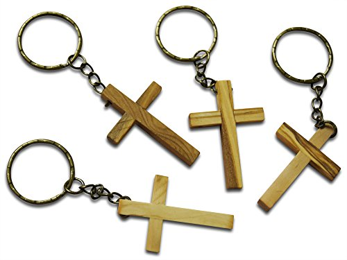 Wooden Cross Keychains Made in the Holy Land for Vacation Bible School Arts and Crafts or Church Carnival Fundraising by Novel Merk (4 Pc Set)