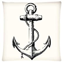 Retro Anchor Pillowcase Zippered Pillow Case 16x16 Standard Size(Twin sides)