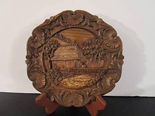 Schwarzwalder Muhle German-Made Wooden Hand-Carved Plate 3-D Entitled
