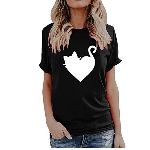 Womens Summer Cute Print Tops Short Sleeve T-Shirts Blouse Black