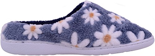 Womens with Grey Soft Slippers Design Fur Slippers Mules Ladies Indoor Faux Flower AZFwqBB