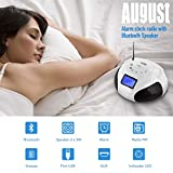 August SE20 - Mini Bluetooth MP3 Stereo System - Portable Radio with Powerful Bluetooth Speaker- FM Alarm Clock Radio with Card reader, USB and AUX in (Micro USB) - 2 x 3W Stereo Hi-Fi Speakers and Rechargeable Battery (Black) (Black) (White)