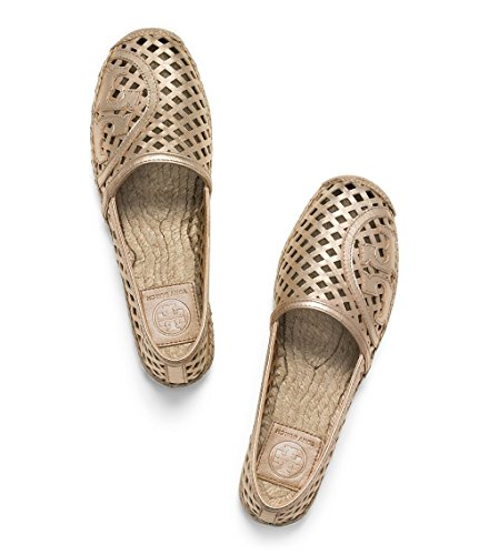 (Tory Burch Thatched Perforated Espadrille Flat Ballet Shoes TB Logo (8, Platinum))
