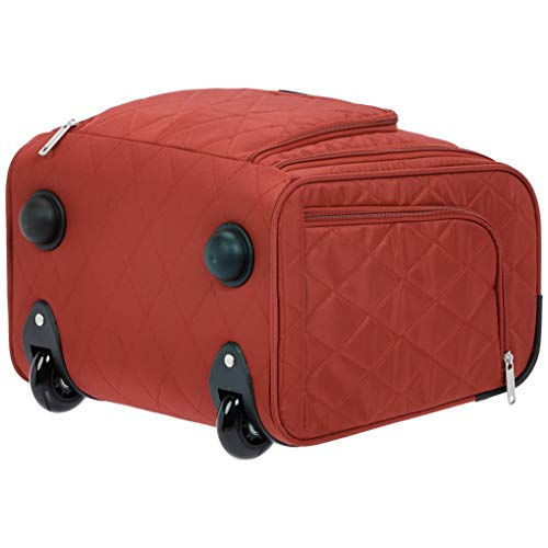 AmazonBasics Underseat Carry On Rolling Travel Luggage Bag - Red Quilted