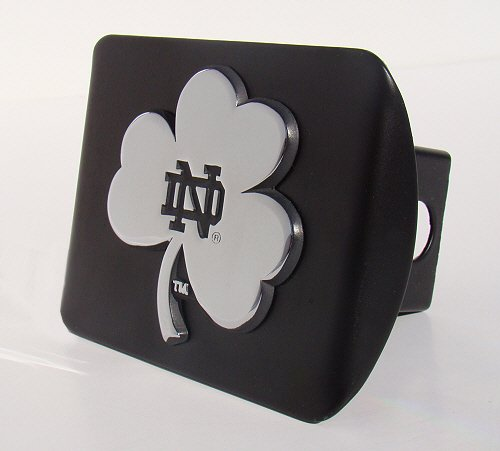 Notre Dame Fighting Irish Premium Metal Hitch Cover with Chrome Shamrock MVP Accessories ND-DEB-BLK-HC