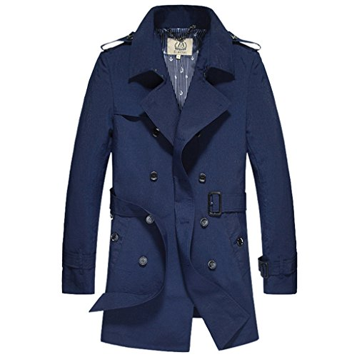 E-artist Mens Trench Coat Double Breasted Long Overcoat F07 Navy XXXXX-Large